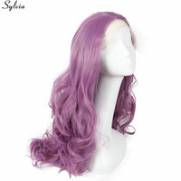 Natural Long Soft Water Wave Violet Lace Front Wig Synthetic Heat Resistant Wigs Women MediumOrchid 22