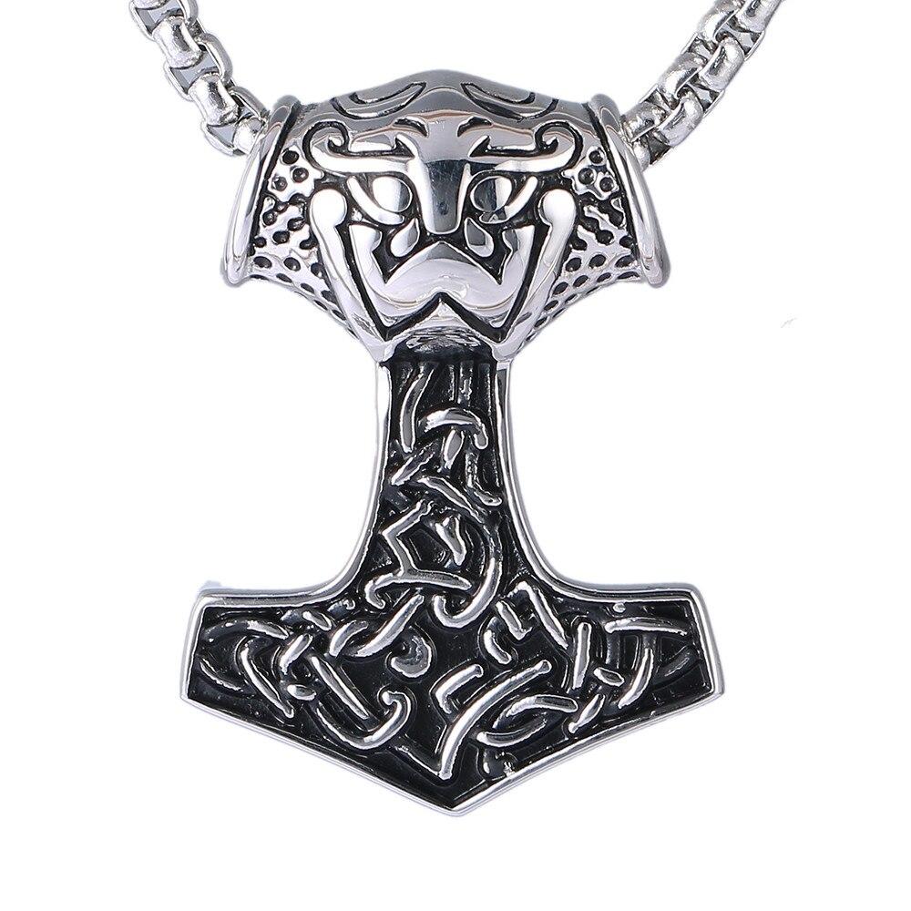 Stainless Steel Necklace Men Huge Thor Hammer Mjolnir Viking Amulet Hammer Scandinavian Pendant Necklace Norse Jewelry 1110