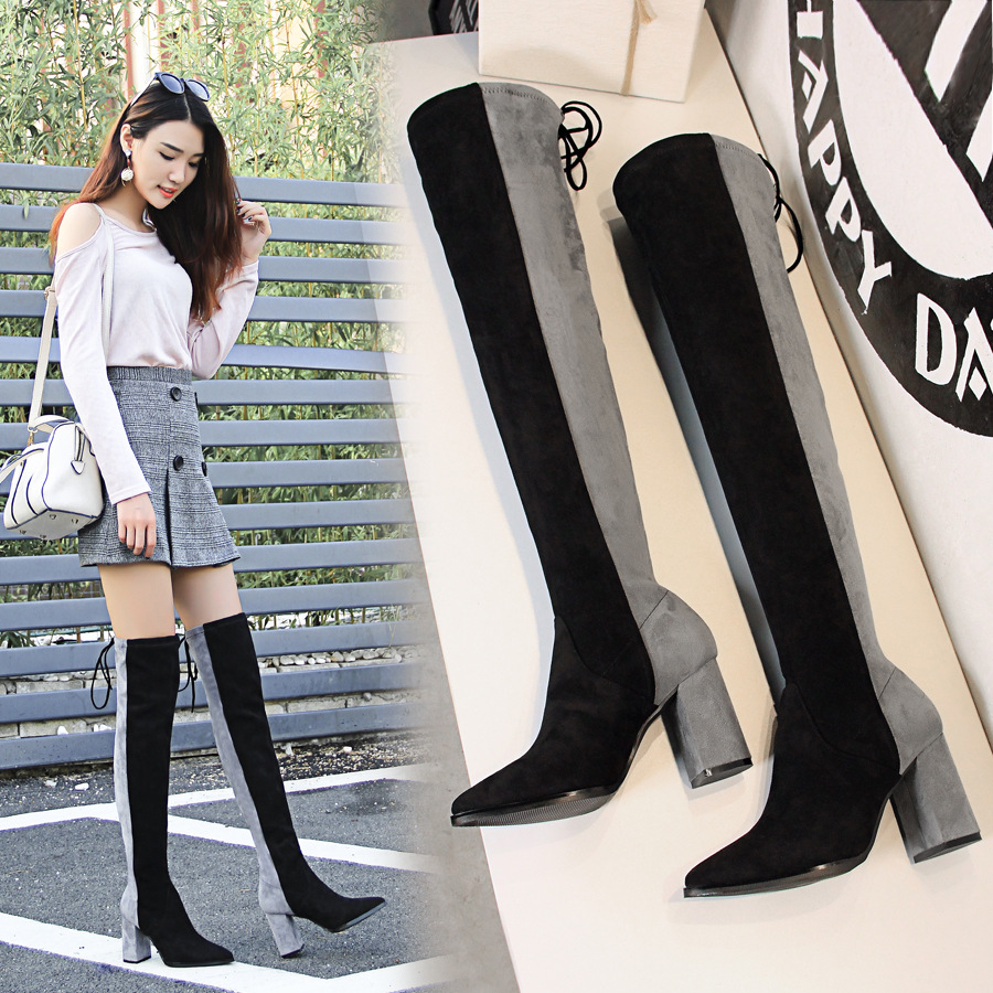 Suede Women Thigh High Boots Mixed Color Slim Sexy Fashion Over the Knee Boots High Heels Motorcycle Female Shoes Black Gray 2017 winter cow suede slim boots sexy over the knee high women snow boots women s fashion winter thigh high boots shoes woman
