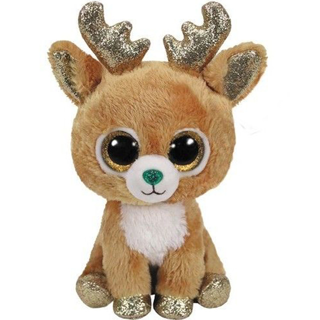 66c0aec548f Ty Beanie Boos 6 15cm Glitzy the Reindeer Fox Cat Bear Wolf Owl Plush  Regular Big
