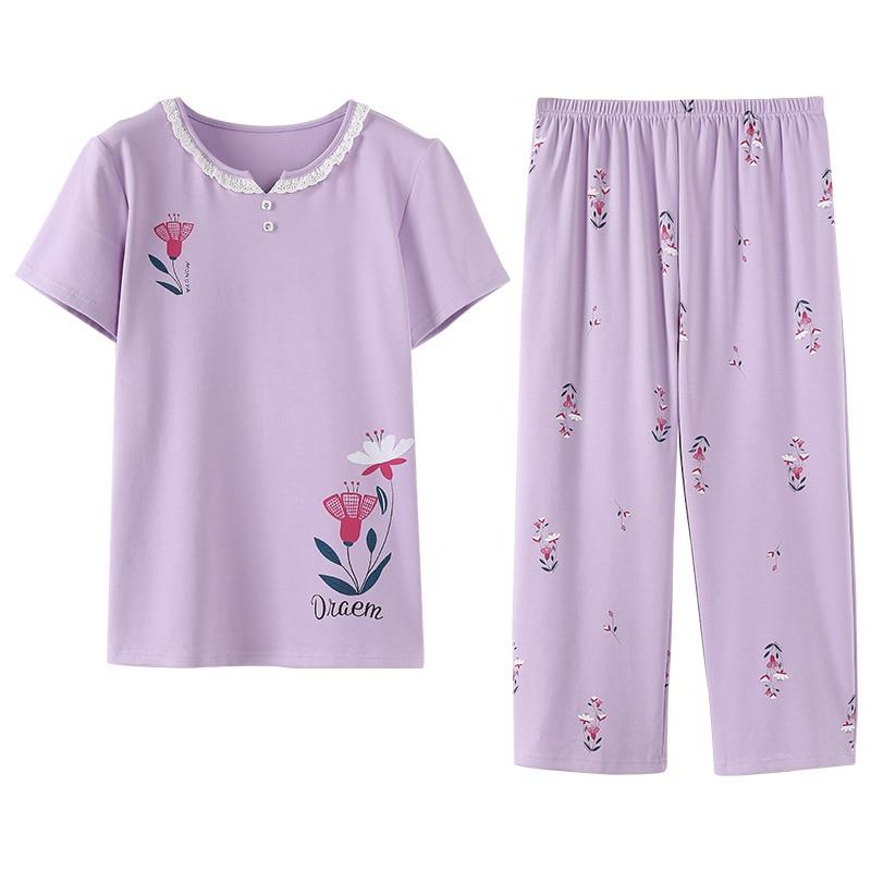 Women's Sleepwear Floral Summer Pajama Set Short Sleeve Round Neck Pajamas Elegant Soft Plus Size M-3XL Women Sleepwear Suits