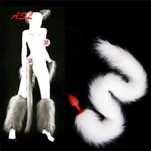 Long White Fox Tail Anal Plug,Furry Fox Silicone/Metal Butt Plug For Adults, Metal Butt Plug, Cosplay Accessories,Crawls Paws(China)