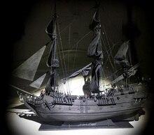 جديد أسود لؤلؤة القراصنة السفينة نموذج خشبي عدة طول 80 سنتيمتر