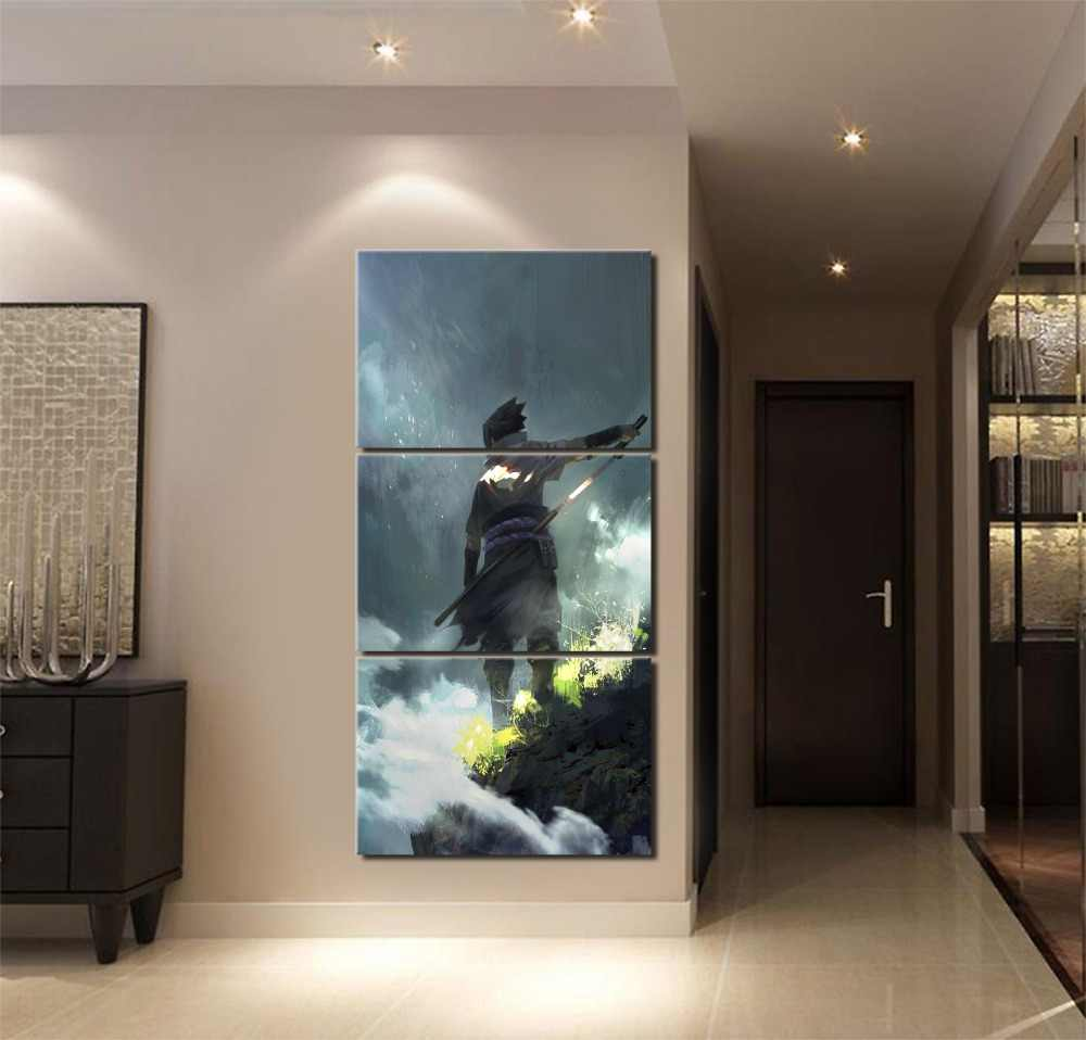 Home Decor Boys Room Modern Wall Art Modular Picture Framework Canvas Print Painting 3 Pieces Anime Naruto Sasuke Uchiha Poster