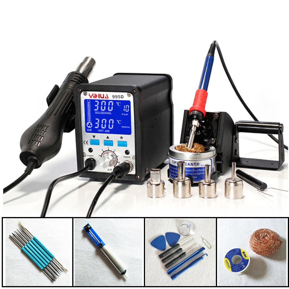 Hot Air Gun Soldering Station SMD Large LCD Display Iron With Air Gun Soldering Station For Solder YIHUA 995D
