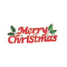 Christmas Theme Brooch Pin Merry Lettering Red Best Gift Accessories For Family And Friends Lover