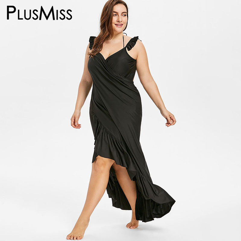 55d21c5fcba PlusMiss Plus Size 4XL Backless Flounce Wrap Boho Beach Maxi Long Dress  Women Spaghetti Strap Party Dresses Big Size Summer 2018-in Dresses from  Women s ...