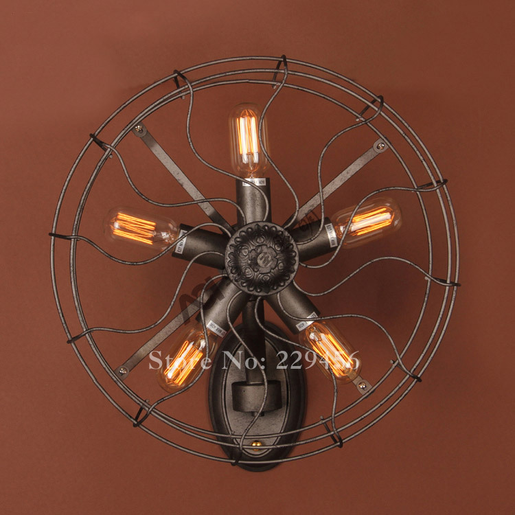 american vintage industrial fan wall lamp restaurant cafe decor sconce lamparas luminaria e27 110240v