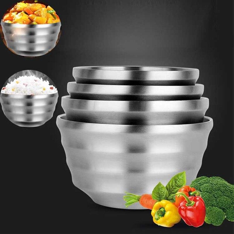 Bol en acier inoxydable vaisselle de riz | Plat en argent bol à Double pont résistant à la chaleur bol de nouilles, bol de Restaurant non toxique 1 pièces