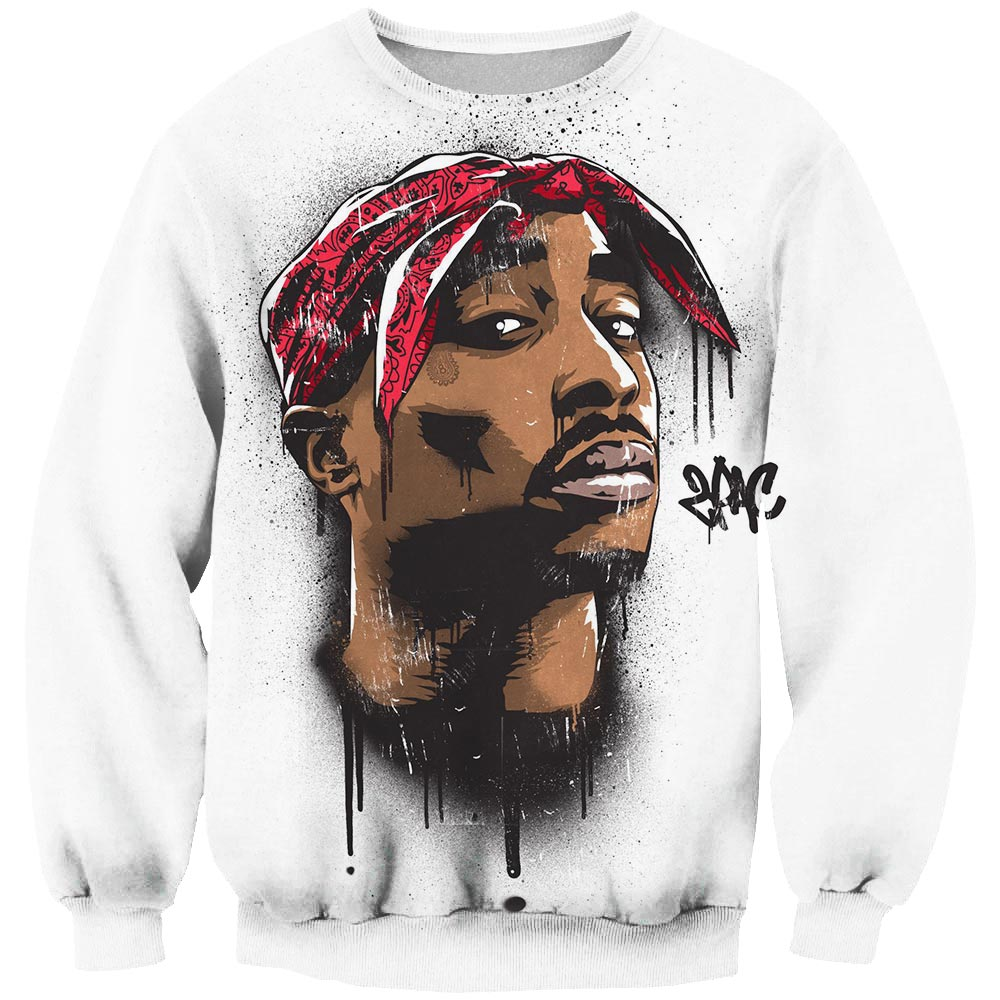 Brand Design 2019 Spring New Harajuku Sweatshirt Rapper 2pac Tupac/Biggie Smalls 3D Print Sportswear Unisex Pullovers Off White