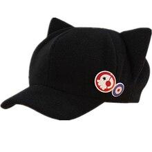 Hot sale Neon Genesis Evangelion EVA caps asuka hat Q version of winter hats cartoon cat new theatre fashion hat with 2 badges