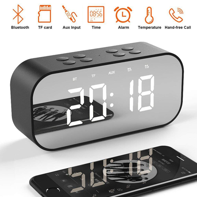 LED Spiegel Klok Kids Wekker LED Night Bureau Digitale Klok Met Draadloze Bluetooth Speaker Ondersteuning AUX TF USB Muziek speler
