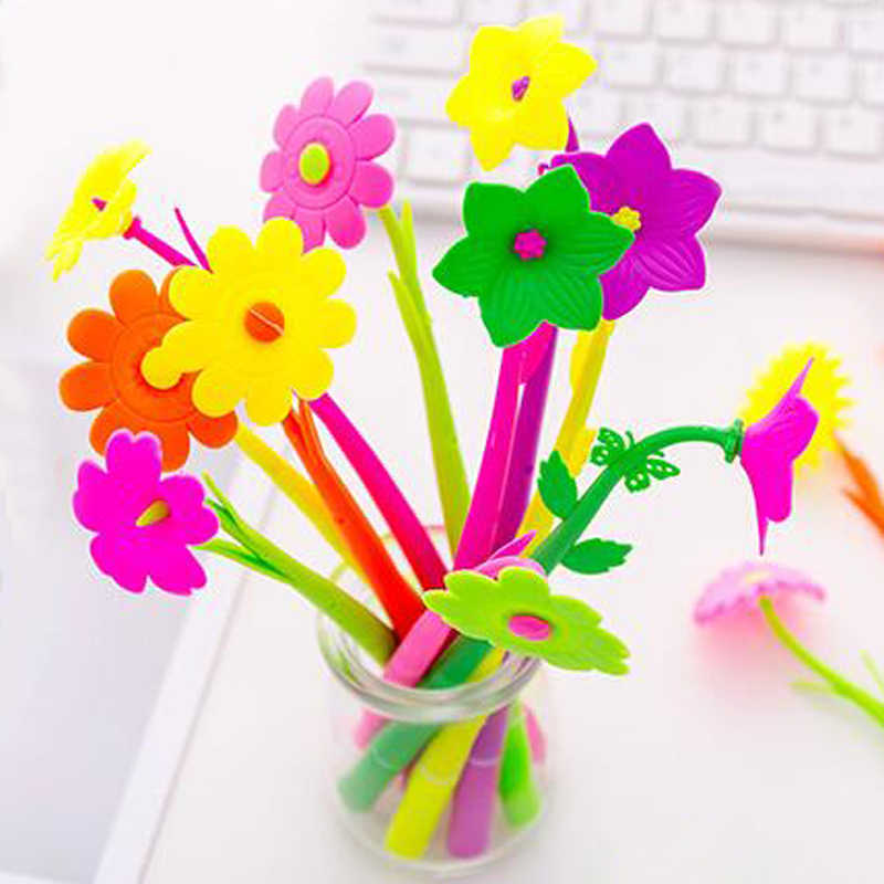 20pcs/lot Mixed Styles Flower Plant Shaped Ball Point Pen Creative Stationery Ballpoint Pen Lovely Style Gel pen writing pen