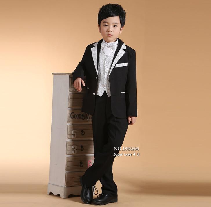 キッズ/子供黒金メッキ フォーマル ドレス男の子ブレザー スーツ結婚式/結婚/ タキシード/パフォー.