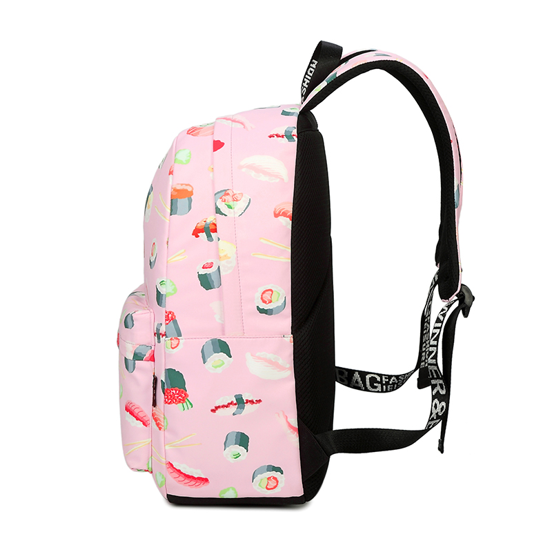 ebbcc3859f40 Waterproof Fashion Sushi Print School Backpack with 15.6
