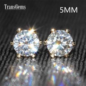 Image 2 - Transgems Classic 14K 585 Yellow Gold 1CTW 5mm 0.5ct Moissanite Diamond Stud Earrings For Women Push Back