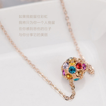 famous brand gold Necklace Natural Austria Colorful Women jewelry accessorie Crystal Ball girlfriend birthday gift Free Shipping