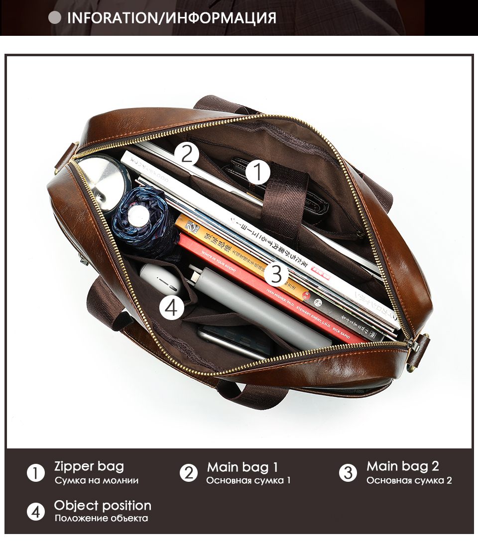 3 Bag Men's Genuine Leather Briefcase Male Handbags Lawyer Man Laptop Bag Leather for Men Messenger Bags Men's Briefcases