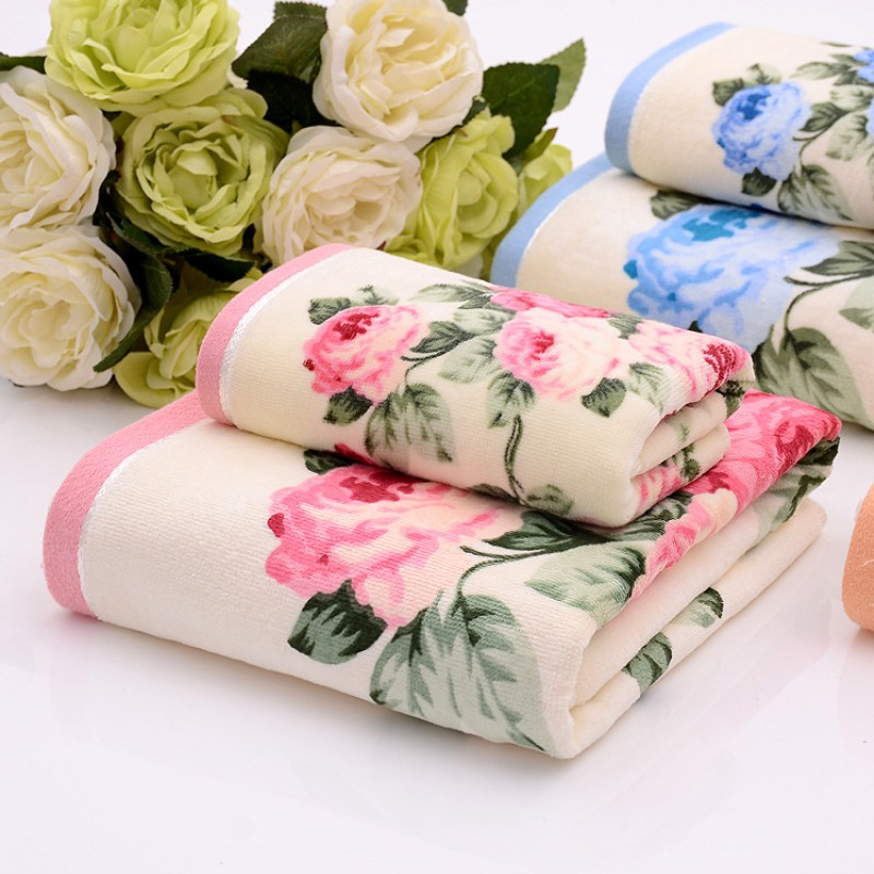 LOVRTRAVEL Luxury Lady Peony flower beach Towel Cotton shower Towels Home Textile Women bathroom Bath Towel Terry For adults pink floral towels