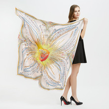 2019 Luxury Twill Silk Scarf For Women Fashion Printed Big Hijab Scarfs Female 130cm Square Shawl Neckerchief Scarves For Ladies