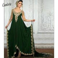 Side Slit Off the Shoulder Kaftan Dubai Arabic Long Evening Dresses Gold appliques Prom Dress robe de soiree Party Dresses