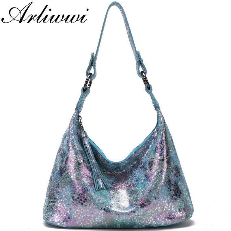 Arliwwi Designer Woman Shiny Flower Real Leather handbags Summer Elegant Floral Lady Shoulder Bags New
