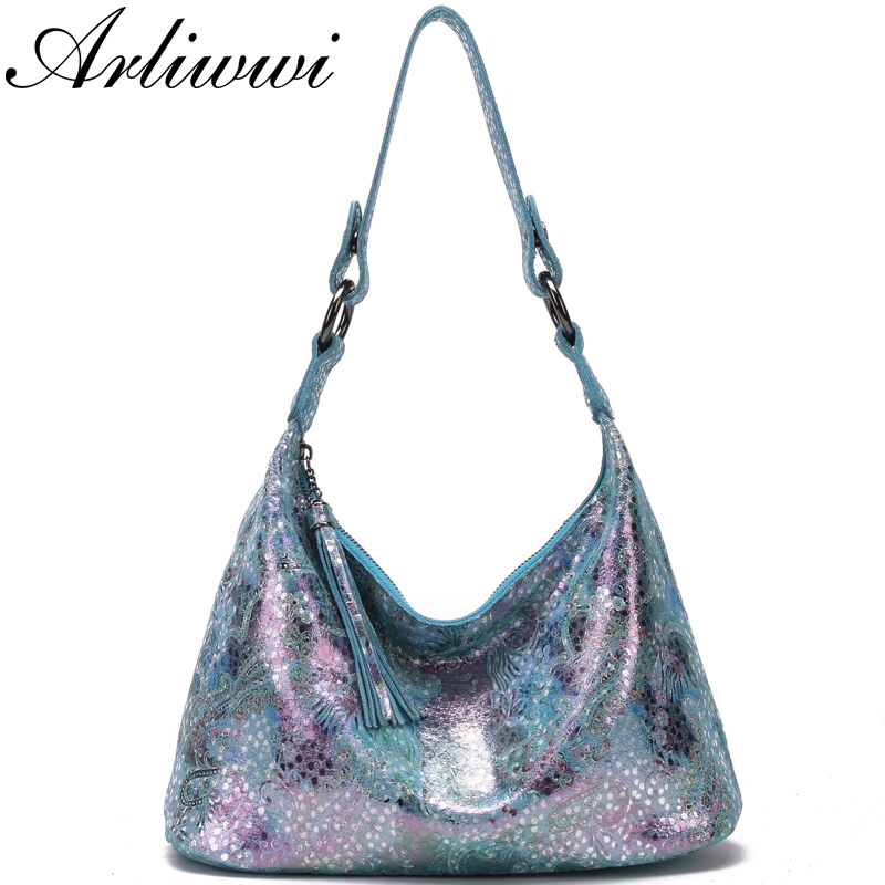 Arliwwi Designer Woman Shiny Flower Real Leather handbags Summer Elegant Floral Lady Shoulder Bags New-in Shoulder Bags from Luggage & Bags    1