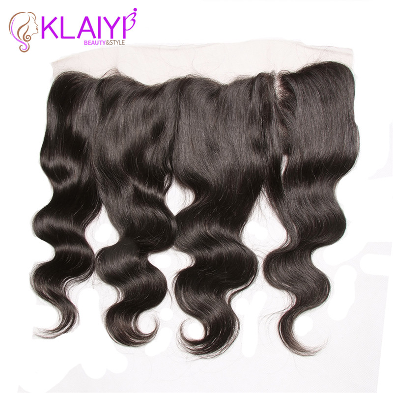Klaiyi Hair 13x4 Lace Frontal Closure Brazilian Body Wave Frontal Remy Human Hair Closure Ear To
