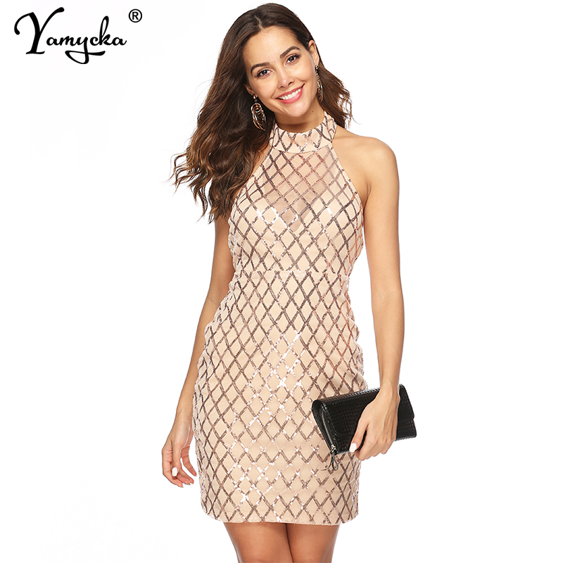 Sexy perspective Plaid sequins summer dress women vintage Black party dress elegant luxury Night club bodycon dresses vestidos in Dresses from Women 39 s Clothing