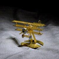 DR.1 DIY Manual Three Wing Static 3D Metal Assembled Model Plane Jigsaw Decoration Model