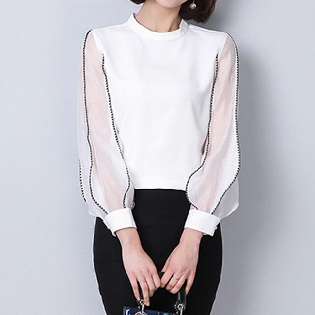 watch 249e1 73ff0 Nette Frauen Hemd Fashion Tops Stehkragen Langarm Weiße Bluse Mesh Chiffon  Patchwork Blusen & Hemden WS6348U