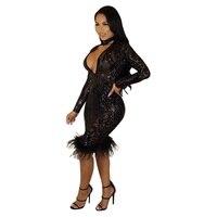 MỚI Sequins Vàng Midi Dress Sexy Paillette Váy Long Sleeve V cổ Nhìn Xuyên Qua Áo Với Lông Trim Knee Length Sexy Câu Lạc Bộ ăn mặc