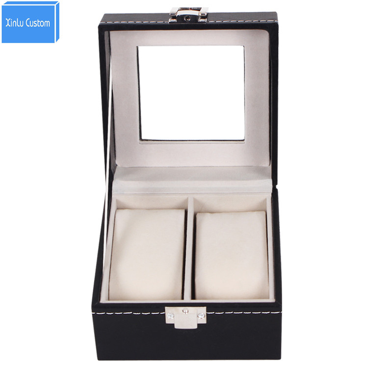 Watch leather roll 2 grids/lover's watch display box storage box watch box jewelry fashion collect couple watches WBG1009