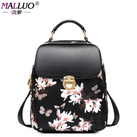 MALLUO Fashion Women Backpack College Casual Style Good Quality School Backpacks Teenager Girl Women Pu Leather
