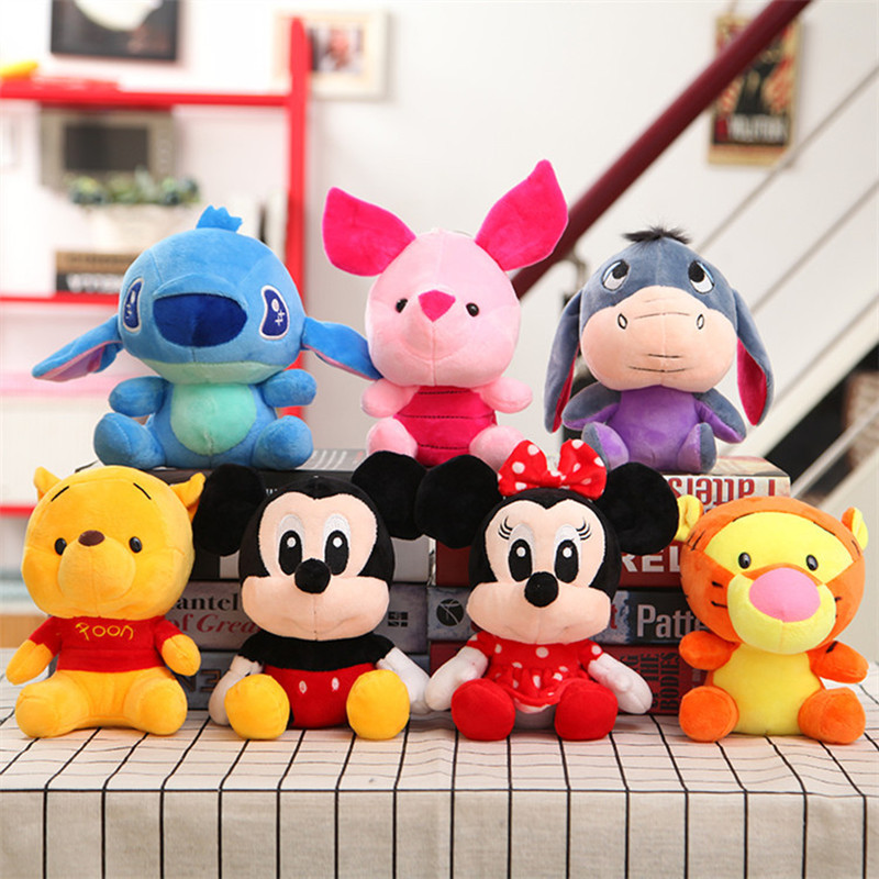 Disney Toy Winnie the Pooh Mickey Mouse Minnie Cute Stuffed Animals Plush Doll Toy Lilo and Stitch Piglet KeyChain Kid Best Gift цены