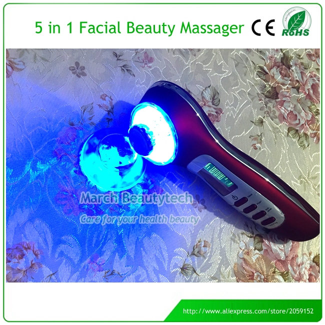 Rechargeable 5 In1 Skin Renewal System Ultrasonic Photon Ion Beauty Device 3MHZ Ultrasound Ion Face Massager with Retail Box levitasion набор relax skin beauty box