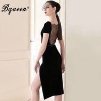 Bqueen 2017 New Arrival Fashion Lace Short Sleeve Lady Dress Sexy Solid Slash Neck Knee Length