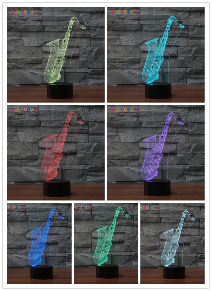 LED Night Light Saxophone USB 3D Lamp 7 Colors Sensor 3D Bedroom Lights Atmosphere Decoration Gift in LED Night Lights from Lights Lighting