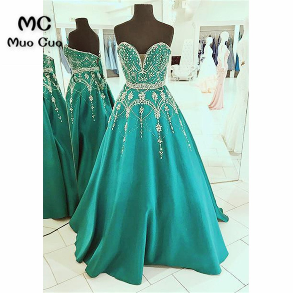 Shinning 2018 Teal A-line   Prom     Dresses   with Beaded Sweetheart Lace Up Back   Prom     Dresses   for women Evening Party   Dresses
