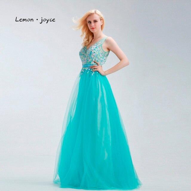 Elegant Green Prom Dress V neck Flower Beading Backless Illusion ...