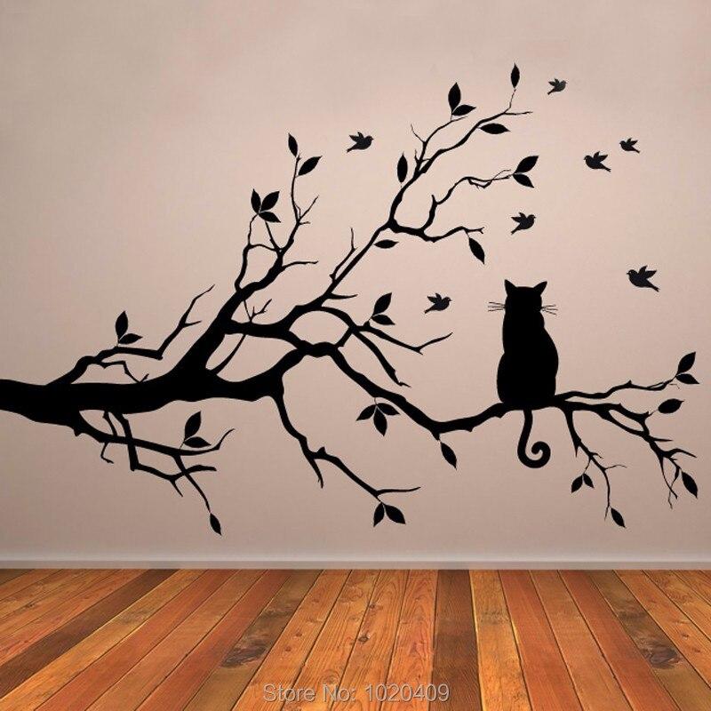 Kucing Di Cabang Pohon Burung Vinil Dinding Stiker Seni Hias Kaca Jendela Dapur Rumah Dekor A017 Wall Stickers Dari