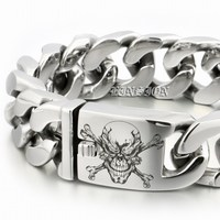 LINSION Huge Heavy 316L Stainless Steel Deep Engraved Pirate Skull Mens Boys Biker Rock Punk Bracelet