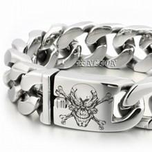 LINSION Huge Heavy 316L Stainless Steel Deep Engraved Pirate Skull Mens Boys Biker Rock Punk Bracelet 5D406