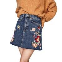 Skirts Womens 2017 Summer Casual Womens Clothing Embroidery Denim Skirt High Waist Skirt Mini Jean Skirt