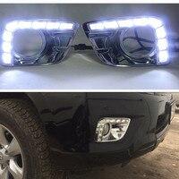 12V CAR LED DRL Daytime Running Light With Fog Lamp Hole For Toyota Prado FJ150 LC150