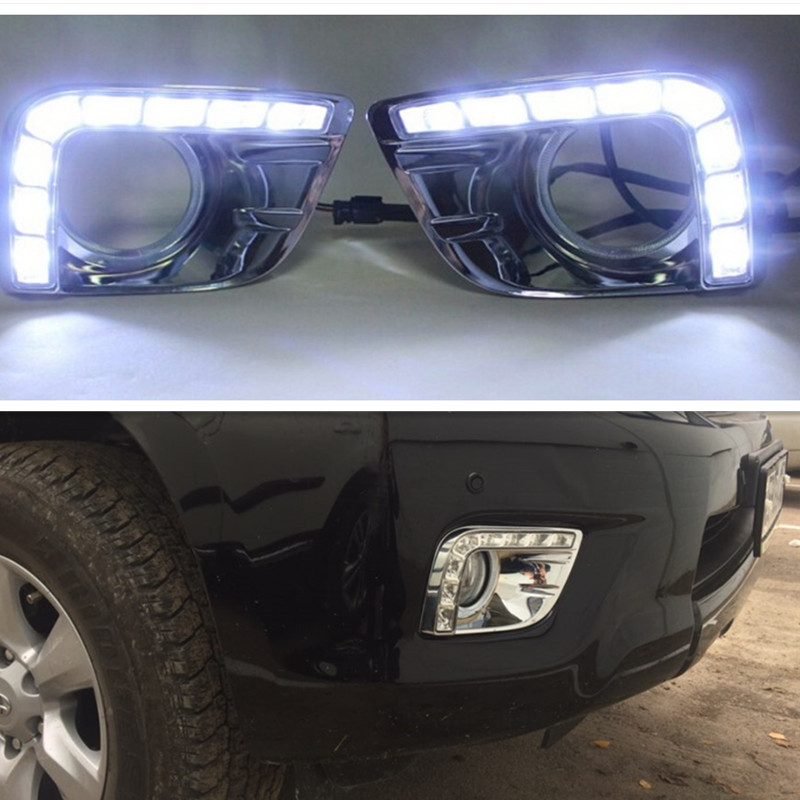 12V CAR LED DRL Daytime Running Light With Fog Lamp Hole For Toyota Prado FJ150 LC150 2010 2011 2012 2013 Land Cruiser 2700/4000 dimmed light function car led drl daytime running lights with fog lamp hole for toyota prado land cruiser fj150 lc150 2010 2013