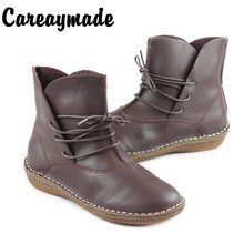 Careaymade-New winter,Women handmade head layer cowhide boots ,The retro art flat heel Mori girl short boots,4colors