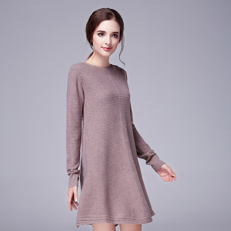 Striped Knit Autumn Winter Dress New Fashion Women O Neck Long Sleeve A Line Casual Work Vestidos S L In Dresses From Clothing