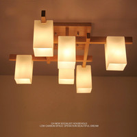 Nordic minimalist creative led wood style living room ceiling lamp personality Japanese home deco restaurant glass ceiling lamp