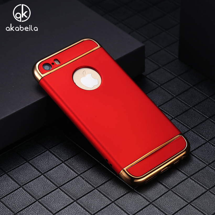 AKABEILA Plating Plastic Case Cover For Apple iPhone 6 6G 6S iphone66S Case Matte Phone Bag Plating Back Housing Shell Skin